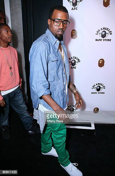 Singer Kanye West arrives at the BAPE Store Opening on Melrose Avenue on April 23 2008 in West Hollywood California