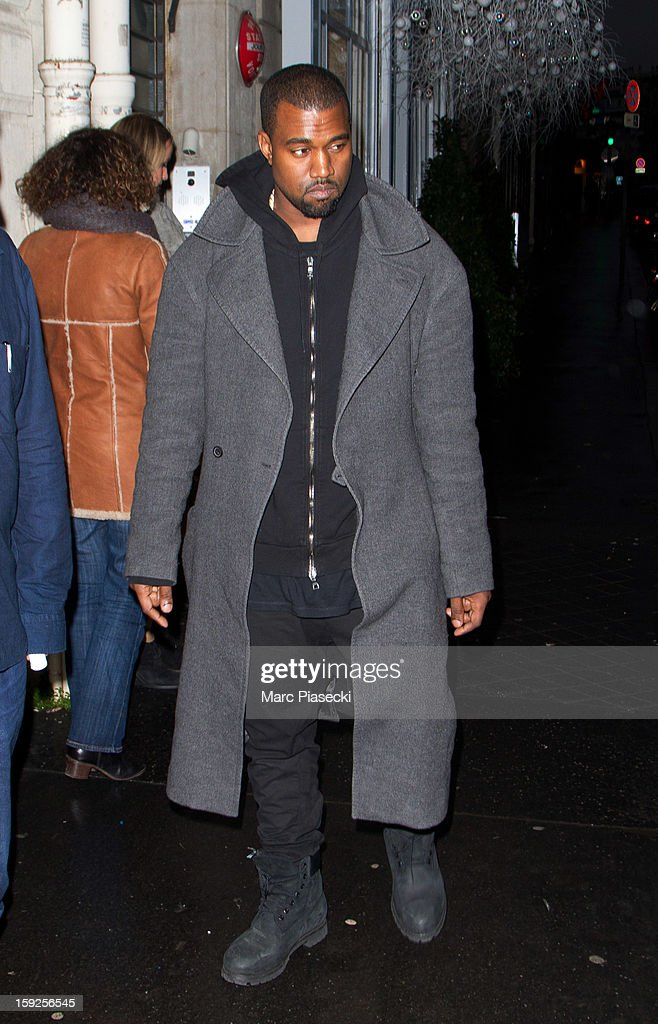 Singer <a gi-track='captionPersonalityLinkClicked' href=/galleries/search?phrase=Kanye+West+-+Musician&family=editorial&specificpeople=201803 ng-click='$event.stopPropagation()'>Kanye West</a> sighted arriving at the 'Jamin Puech' store on January 10, 2013 in Paris, France.