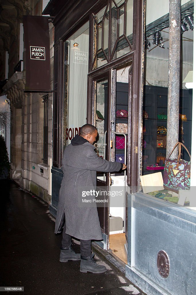 Singer Kanye West sighted arriving at the 'Jamin Puech' store on January 10, 2013 in Paris, France.