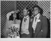Singer Karen Carpenter at her wedding to Tom Burris pictured with her groom and her brother Richard Carpenter Beverly Hills Hotel California...