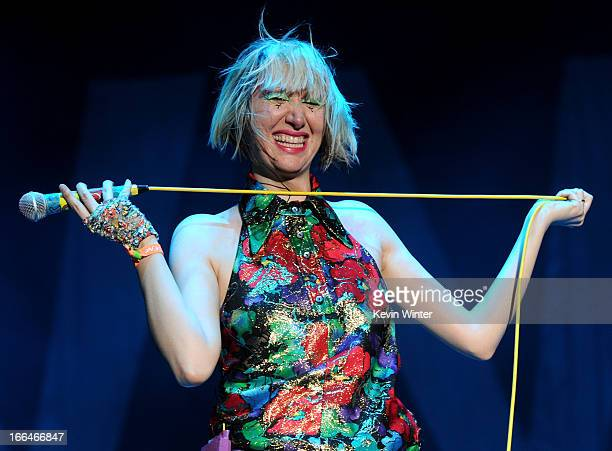 Singer Karen O of the band Yeah Yeah Yeahs performs onstage during day 1 of the 2013 Coachella Valley Music Arts Festival at the Empire Polo Club on...