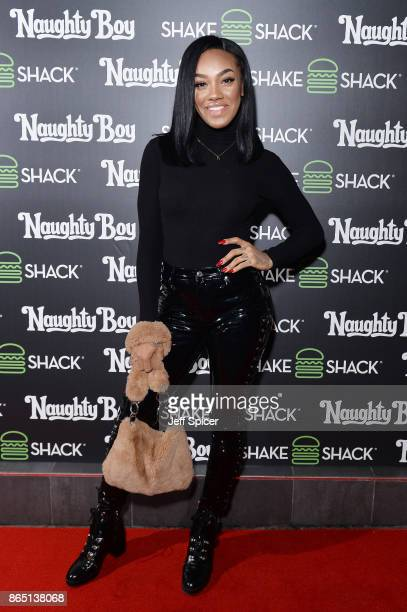 Singer Karis Anderson from Stooshe during the launch of 'Shack Sounds' at Shake Shack Leicester Square on October 22 2017 in London England