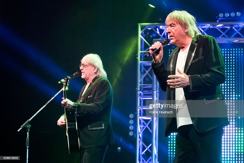 Singer Karl-Heinz Ulrich and Bernd Ulrich of the German band Die Amigos perform live during a concert at the Admiralspalast on May 1, 2016 in Berlin, Germany.