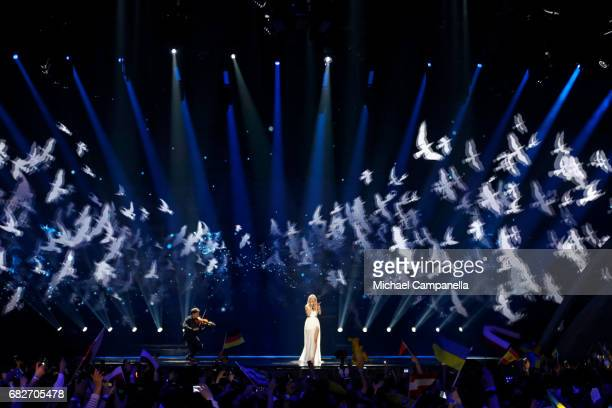 Singer Kasia Mos representing Poland performs the song 'Flashlight' during the final of the 62nd Eurovision Song Contest at International Exhibition...