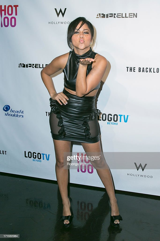 Singer Kat DeLuna arrives at Logo's 'Hot 100' Party at Drai's Lounge in W Hollywood on June 25, 2013 in Hollywood, California.