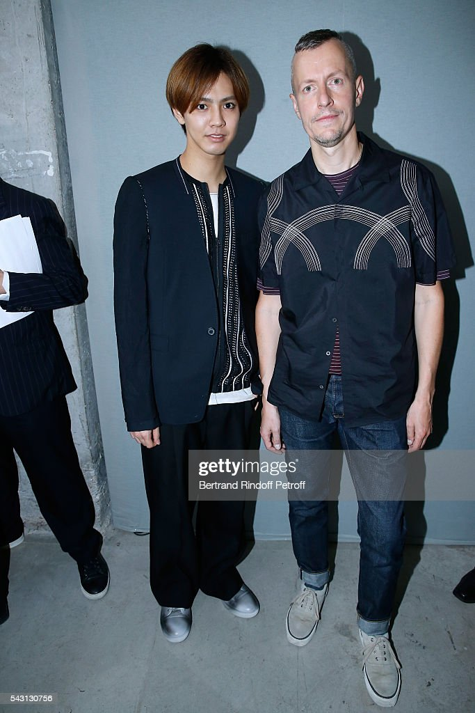 Singer Katayose Ryota and Stylist <a gi-track='captionPersonalityLinkClicked' href=/galleries/search?phrase=Lucas+Ossendrijver&family=editorial&specificpeople=5531949 ng-click='$event.stopPropagation()'>Lucas Ossendrijver</a> attend the Lanvin Menswear Spring/Summer 2017 show as part of Paris Fashion Week on June 26, 2016 in Paris, France.