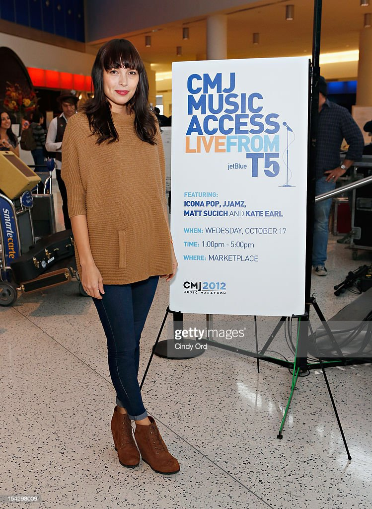 Singer Kate Earl poses prior to performing at JetBlue's Live From T5 Concert Series - CMJ Music Access Live at John F. Kennedy International Airport on October 17, 2012 in New York City.