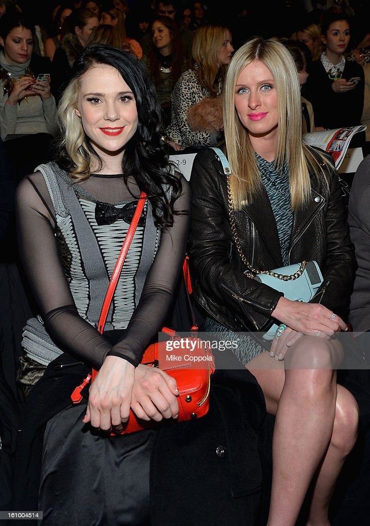 Singer <a gi-track='captionPersonalityLinkClicked' href=/galleries/search?phrase=Kate+Nash&family=editorial&specificpeople=4337182 ng-click='$event.stopPropagation()'>Kate Nash</a> and Nicky Hilton attend the Rebecca Minkoff Fall 2013 fashion show during Mercedes-Benz Fashion at The Theatre at Lincoln Center on February 8, 2013 in New York City.
