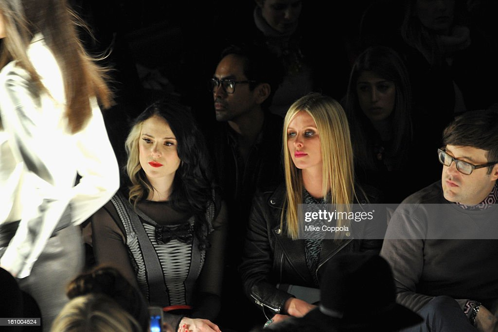 Singer Kate Nash, Nicky Hilton, and Teen Vogue editorAndrew Bevan attend the Rebecca Minkoff Fall 2013 fashion show during Mercedes-Benz Fashion at The Theatre at Lincoln Center on February 8, 2013 in New York City.