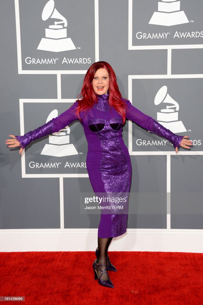 Singer <a gi-track='captionPersonalityLinkClicked' href=/galleries/search?phrase=Kate+Pierson&family=editorial&specificpeople=213573 ng-click='$event.stopPropagation()'>Kate Pierson</a> arrives at the 55th Annual GRAMMY Awards at Staples Center on February 10, 2013 in Los Angeles, California.