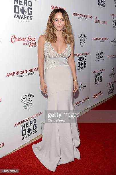 Singer Katharine McPhee onstage during the Sixth Annual American Humane Association Hero Dog Awards at The Beverly Hilton Hotel on September 10 2016...