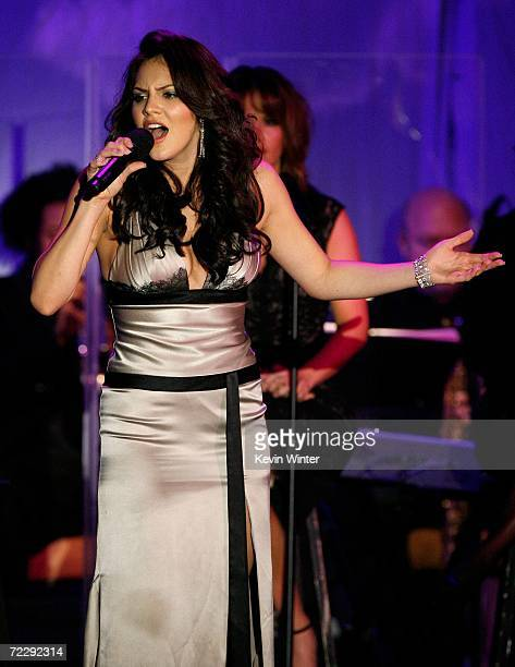 Singer Katharine McPhee performs at the 17th Annual MercedesBenz Carousel of Hope Ball at the Beverly Hilton Hotel on October 28 2006 in Beverly...