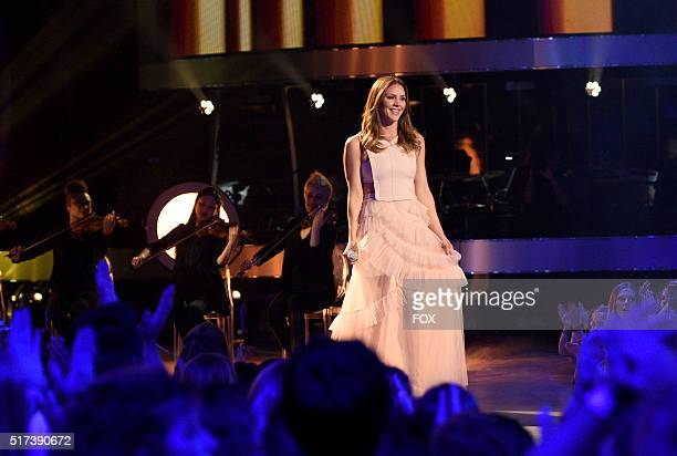 Singer Katharine McPhee performs onstage at FOX's American Idol Season 15 on March 24 2016 in Hollywood California