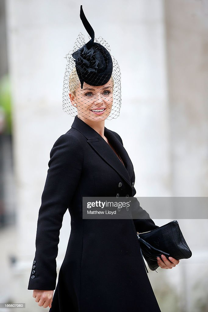 Singer Katherine Jenkins leaves a reception held at the Guildhall following the ceremonial funeral of former British Prime Minister Margaret Thatcher on April 17, 2013 in London, England. Dignitaries from around the world today join Queen Elizabeth II and Prince Philip, Duke of Edinburgh as the United Kingdom pays tribute to former Prime Minister Baroness Thatcher during a Ceremonial funeral with military honours at St Paul's Cathedral. Lady Thatcher, who died last week, was the first British female Prime Minister and served from 1979 to 1990.