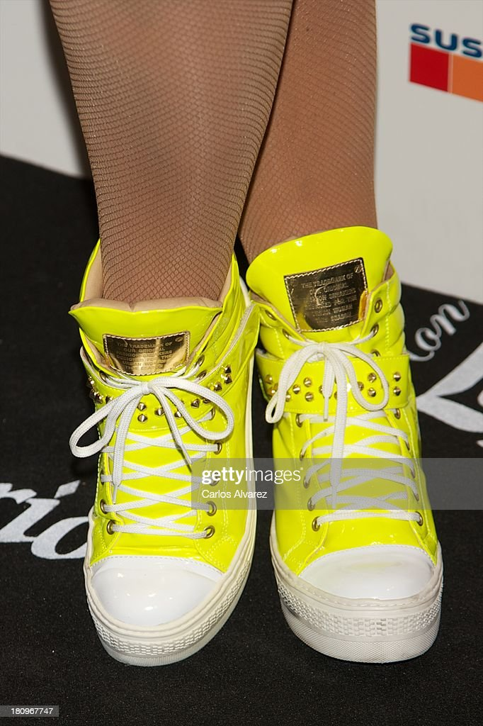 Singer Katia Aveiro (shoes detail) presents her new album 'Feat Wildboyz' at the MOMA Club on September 18, 2013 in Madrid, Spain.
