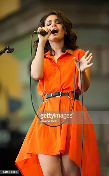 Singer Katie Melua performs live during a concert at the 'Classic Open Air' festival at the Gendarmenmarkt on July 09 2012 in Berlin Germany