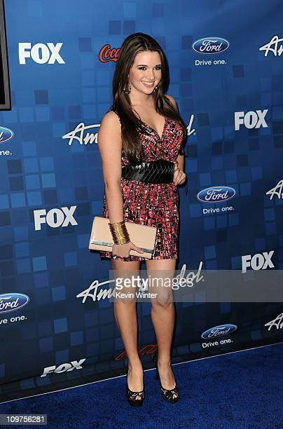 Singer Katie Stevens attends Fox's 'American Idol' Finalist Party on March 3 2011 in Los Angeles California