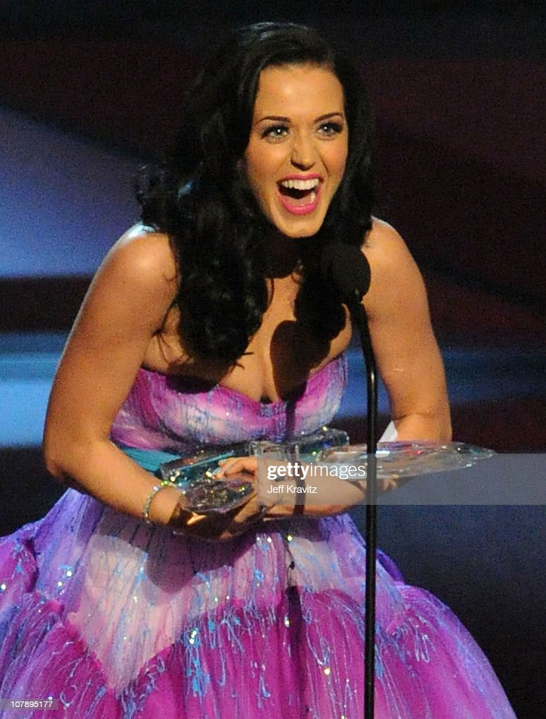 Singer <a gi-track='captionPersonalityLinkClicked' href=/galleries/search?phrase=Katy+Perry&family=editorial&specificpeople=599558 ng-click='$event.stopPropagation()'>Katy Perry</a> aka Katy Brand speaks onstage during the 2011 People's Choice Awards at Nokia Theatre L.A. Live on January 5, 2011 in Los Angeles, California.