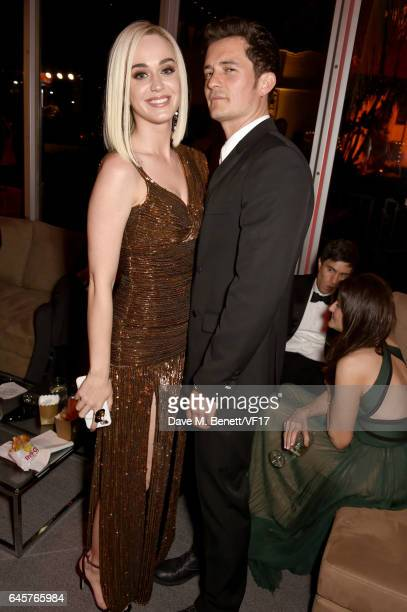 Singer Katy Perry and actor Orlando Bloom attend the 2017 Vanity Fair Oscar Party hosted by Graydon Carter at Wallis Annenberg Center for the...