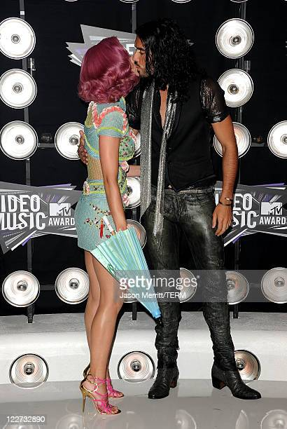 Singer Katy Perry and actor Russell Brand arrive at the 2011 MTV Video Music Awards at Nokia Theatre LA LIVE on August 28 2011 in Los Angeles...