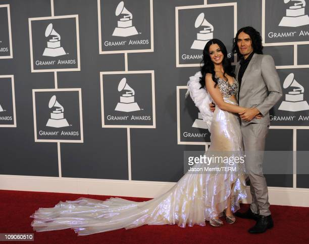Singer Katy Perry and actor Russell Brand arrive at The 53rd Annual GRAMMY Awards held at Staples Center on February 13 2011 in Los Angeles California