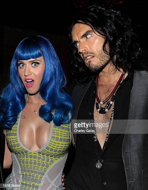 Singer Katy Perry and actor Russell Brand attend the Katy Perry 'California Gurls' post Movie Awards Party at John Terzian and Brian Toll's Las...