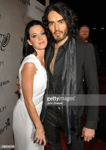 Singer Katy Perry and actor/comedian Russell Brand arrive at The Art of Elysium's 3rd Annual Black Tie Charity Gala 'Heaven' on January 16 2010 in...