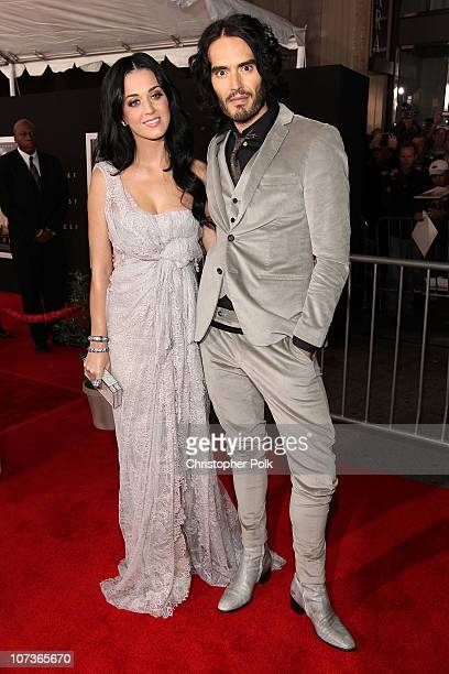 Singer Katy Perry and actor/comedian Russell Brand arrive at the premiere of Touchstone Pictures and Miramax Films' 'The Tempest' at the El Capitan...