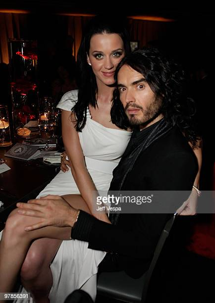 Singer Katy Perry and actor/comedian Russell Brand attend The Art of Elysium's 3rd Annual Black Tie Charity Gala 'Heaven' on January 16 2010 in Los...