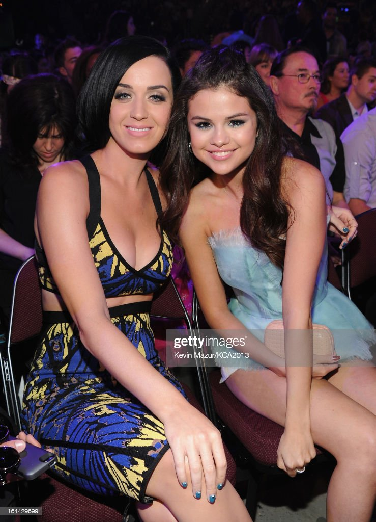 Singer Katy Perry and actress Selena Gomez attend Nickelodeon's 26th Annual Kids' Choice Awards at USC Galen Center on March 23, 2013 in Los Angeles, California.