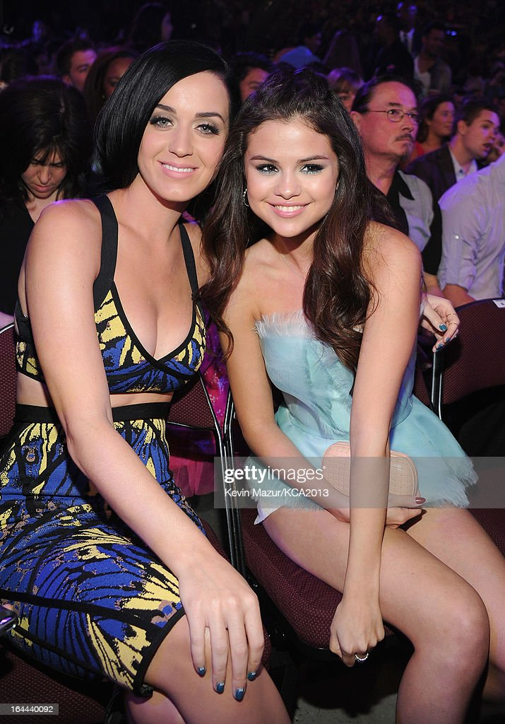 Singer Katy Perry (L) and actress/singer Selena Gomez attend Nickelodeon's 26th Annual Kids' Choice Awards at USC Galen Center on March 23, 2013 in Los Angeles, California.