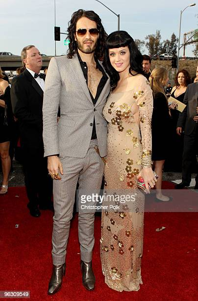 Singer Katy Perry and comedian Russell Brand arrive at the 52nd Annual GRAMMY Awards held at Staples Center on January 31 2010 in Los Angeles...