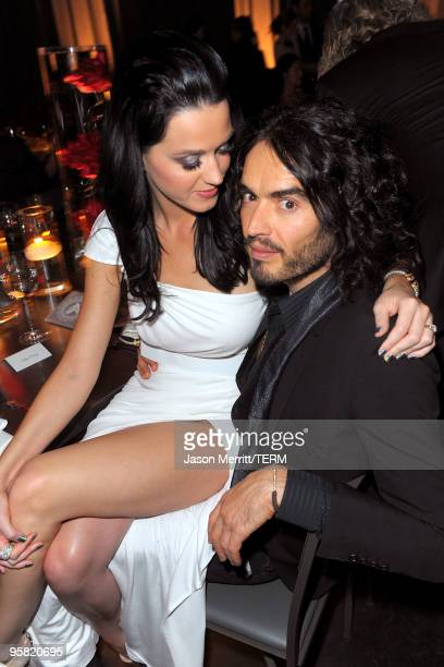 Singer Katy Perry and comedian Russell Brand attend The Art of Elysium's 3rd Annual Black Tie Charity Gala 'Heaven' on January 16 2010 in Beverly...
