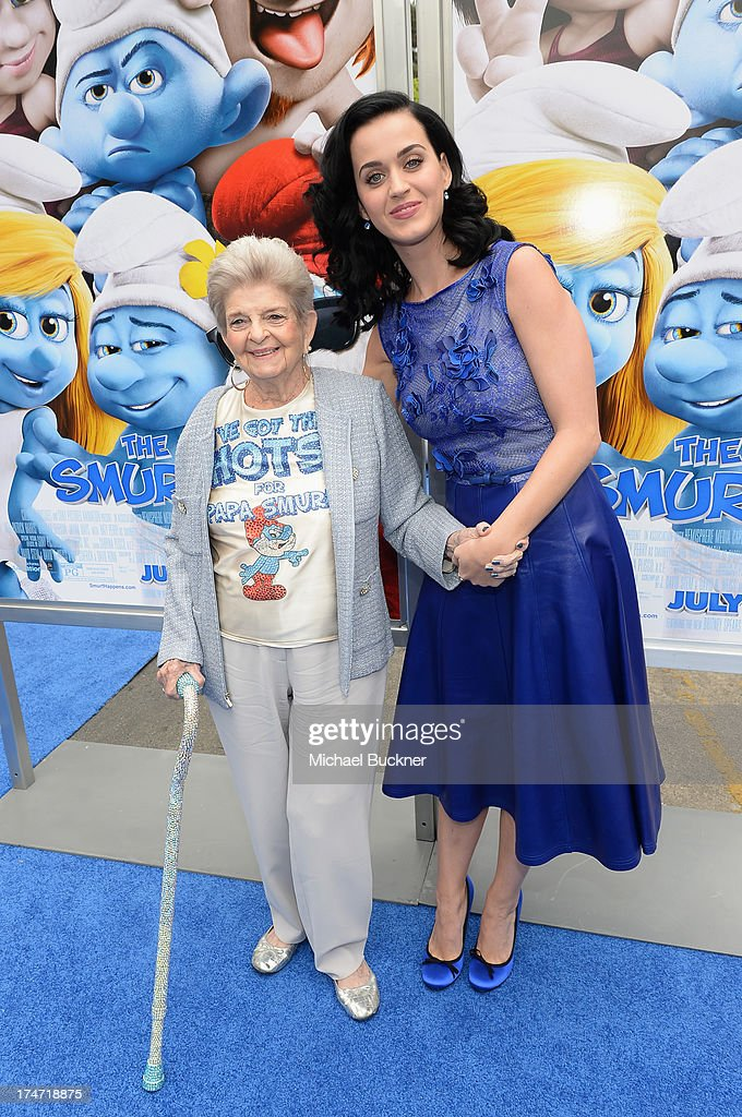 Singer <a gi-track='captionPersonalityLinkClicked' href=/galleries/search?phrase=Katy+Perry&family=editorial&specificpeople=599558 ng-click='$event.stopPropagation()'>Katy Perry</a> (R) and grandmother Ann Hudson attends the Los Angeles premiere of 'The Smurfs 2' at Regency Village Theatre on July 28, 2013 in Westwood, California.