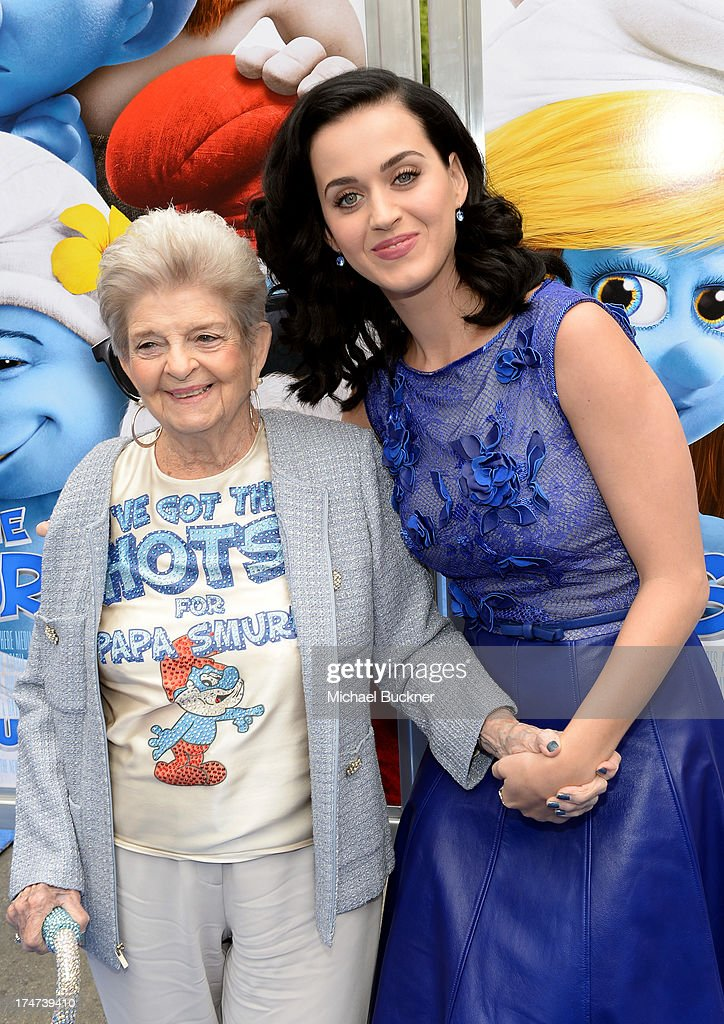 Singer Katy Perry (R) and grandmother Ann Hudson attends the Los Angeles premiere of 'The Smurfs 2' at Regency Village Theatre on July 28, 2013 in Westwood, California.