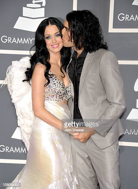 Singer Katy Perry and husband actor Russell Brand arrive at The 53rd Annual GRAMMY Awards held at Staples Center on February 13 2011 in Los Angeles...