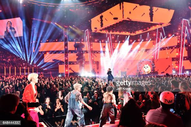 Singer Katy Perry and rapper Skip Marley perform onstage at the 2017 iHeartRadio Music Awards which broadcast live on Turner's TBS TNT and truTV at...