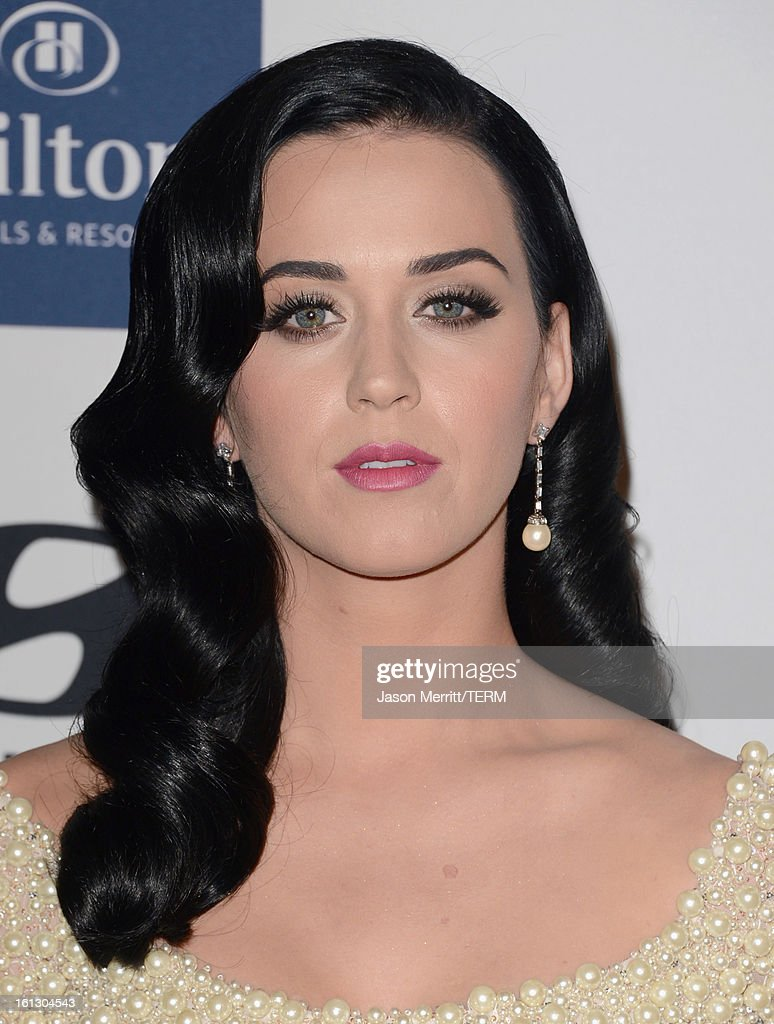 Singer Katy Perry arrives at Clive Davis & The Recording Academy's 2013 Pre-GRAMMY Gala and Salute to Industry Icons honoring Antonio 'L.A.' Reid at The Beverly Hilton Hotel on February 9, 2013 in Beverly Hills, California.