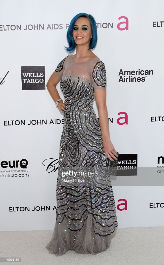 Singer Katy Perry arrives at the 20th Annual Elton John AIDS Foundation Academy Awards Viewing Party at Pacific Design Center on February 26, 2012 in West Hollywood, California.