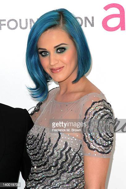 Singer Katy Perry arrives at the 20th Annual Elton John AIDS Foundation's Oscar Viewing Party held at West Hollywood Park on February 26 2012 in West...