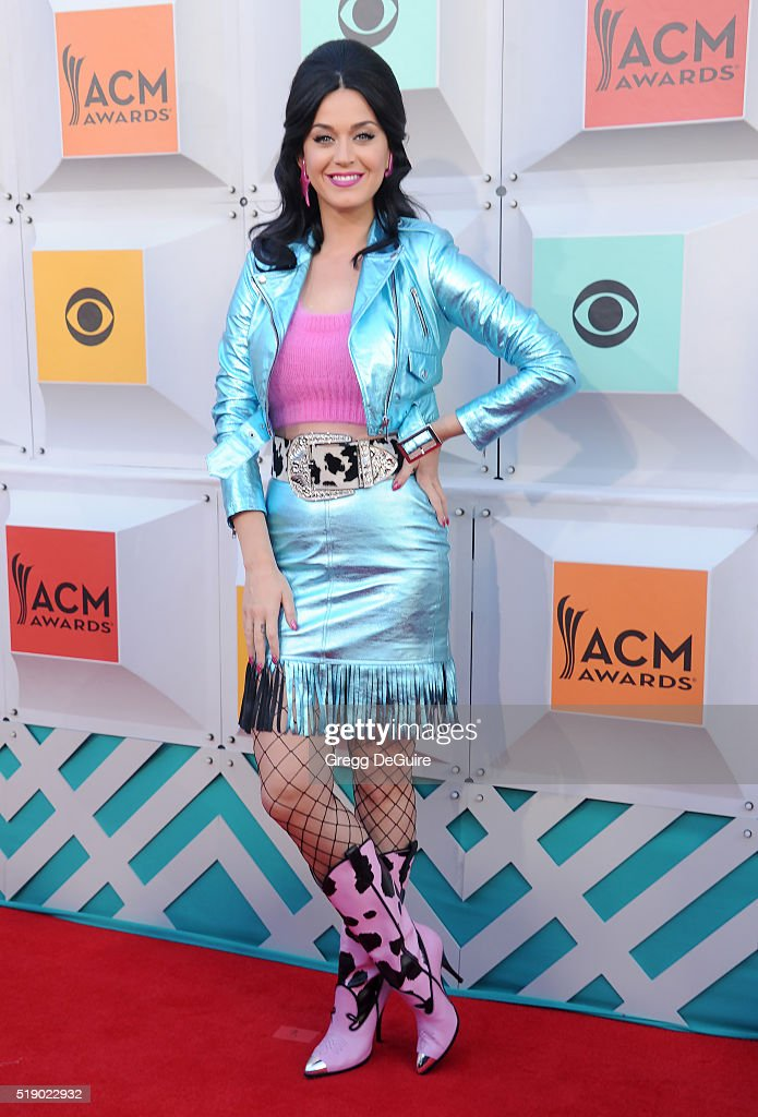 Singer Katy Perry arrives at the 51st Academy Of Country Music Awards at MGM Grand Garden Arena on April 3 2016 in Las Vegas Nevada