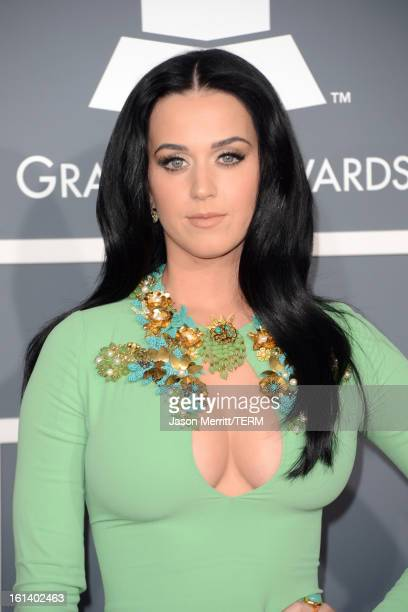 Singer Katy Perry arrives at the 55th Annual GRAMMY Awards at Staples Center on February 10 2013 in Los Angeles California