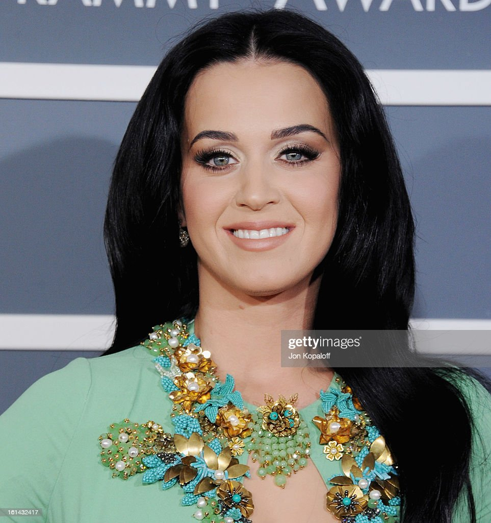 Singer <a gi-track='captionPersonalityLinkClicked' href=/galleries/search?phrase=Katy+Perry&family=editorial&specificpeople=599558 ng-click='$event.stopPropagation()'>Katy Perry</a> arrives at The 55th Annual GRAMMY Awards at Staples Center on February 10, 2013 in Los Angeles, California.