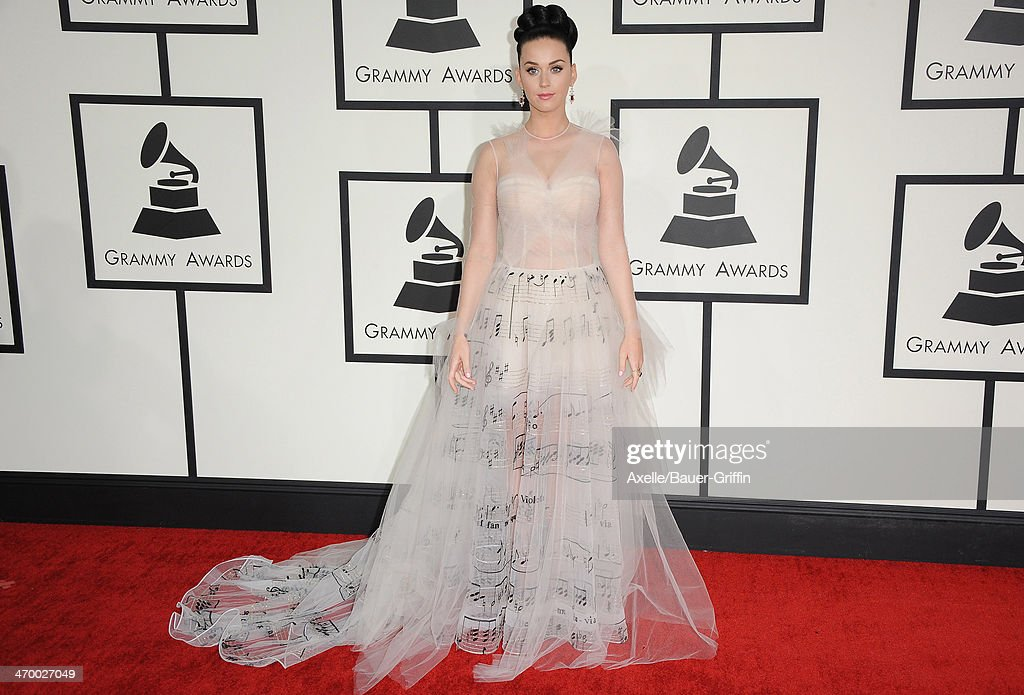 Singer <a gi-track='captionPersonalityLinkClicked' href=/galleries/search?phrase=Katy+Perry&family=editorial&specificpeople=599558 ng-click='$event.stopPropagation()'>Katy Perry</a> arrives at the 56th GRAMMY Awards at Staples Center on January 26, 2014 in Los Angeles, California.