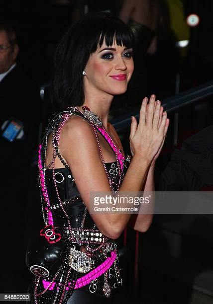 Singer Katy Perry arrives at the Brit Awards 2009 at Earls Court on February 18 2009 in London England