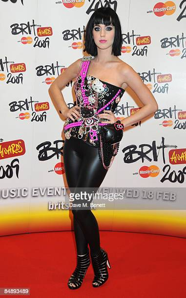Singer Katy Perry arrives at The Brit Awards 2009 at Earls Court One on February 18 2009 in London England