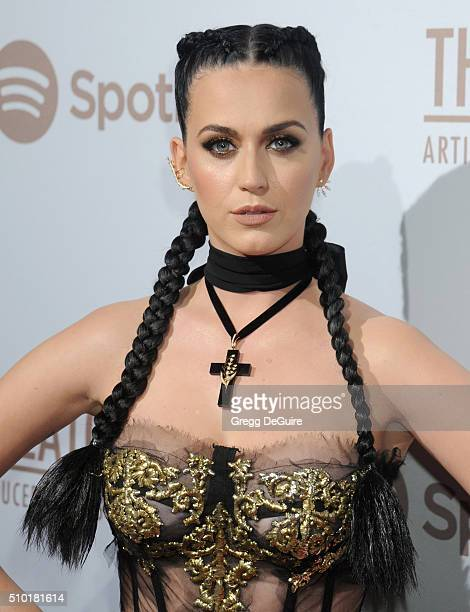 Singer Katy Perry arrives at The Creators Party Presented by Spotify Cicada Los Angeles at Cicada on February 13 2016 in Los Angeles California