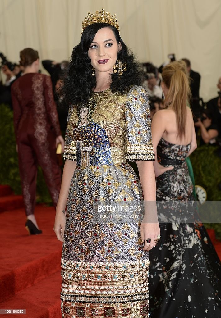 "Singer Katy Perry arrives at the Metropolitan Museum of Art's Costume Institute Gala benefit in honor of the museum's latest exhibit, ""Punk: Chaos to Couture."" May 6, 2013 in New York. AFP PHOTO/Timothy A. CLARY"