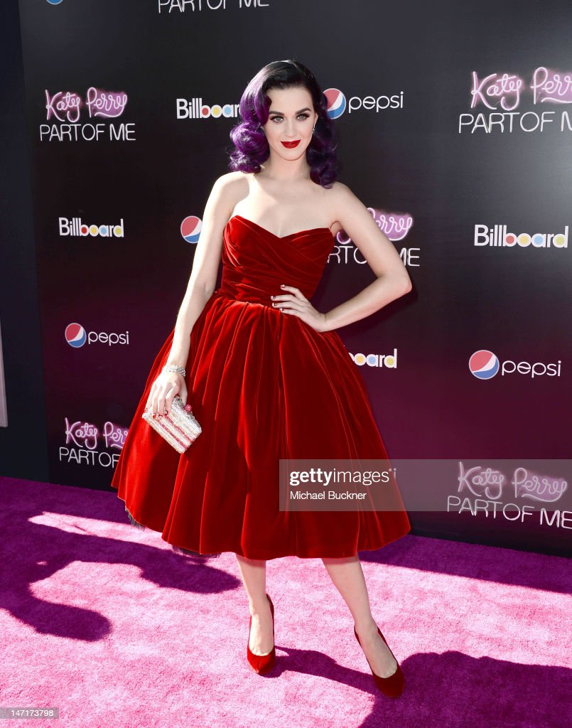 Singer <a gi-track='captionPersonalityLinkClicked' href=/galleries/search?phrase=Katy+Perry&family=editorial&specificpeople=599558 ng-click='$event.stopPropagation()'>Katy Perry</a> arrives at the premiere of '<a gi-track='captionPersonalityLinkClicked' href=/galleries/search?phrase=Katy+Perry&family=editorial&specificpeople=599558 ng-click='$event.stopPropagation()'>Katy Perry</a>: Part Of Me' held at Grauman's Chinese Theatre on June 26, 2012 in Hollywood, California. The premiere also included a special live performance by Katy for the first-ever Pepsi/Billboard Summer Beats series. '<a gi-track='captionPersonalityLinkClicked' href=/galleries/search?phrase=Katy+Perry&family=editorial&specificpeople=599558 ng-click='$event.stopPropagation()'>Katy Perry</a>: Part Of Me' will be released by Paramount's Insurge Pictures on July 5, 2012.