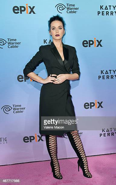 Singer Katy Perry arrives at the Screening Of EPIX's 'Katy Perry The Prismatic World Tour' at The Theatre at Ace Hotel Downtown LA on March 26 2015...